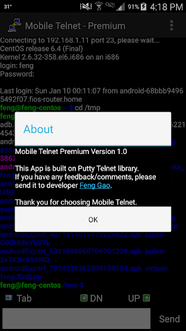 Mobile Telnet(Premium Version) Screenshot