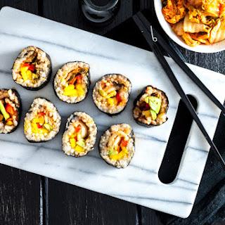 Avocado, Mango & Kimchi Sushi Rolls.
