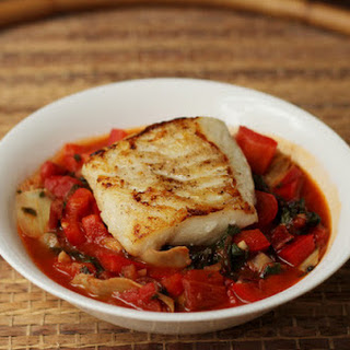 Pan-Roasted Pacific Cod with Bell Pepper, Artichokes, and Tomato