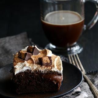 Peanut Butter Mocha Poke Cake