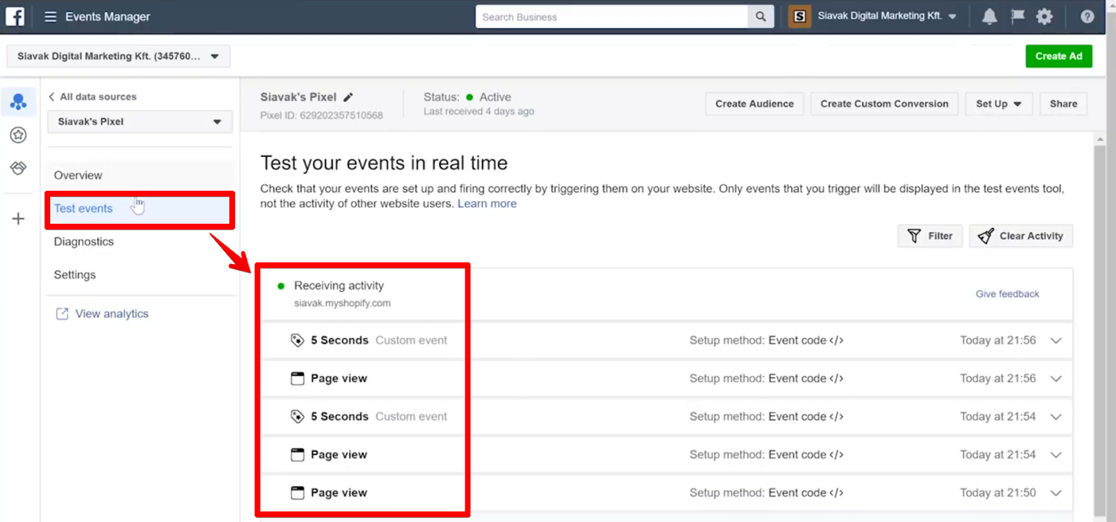 Receiving activity in the Test events tab showing us that both Page view and 5 Seconds Tags have fired multiple times