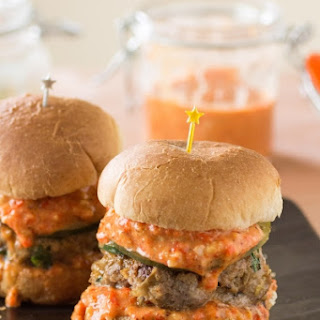 Alligator Sausage Sliders with Roasted Red Pepper Remoulade