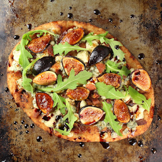 Blue Cheese Fig Flatbread with Balsamic Sauce.