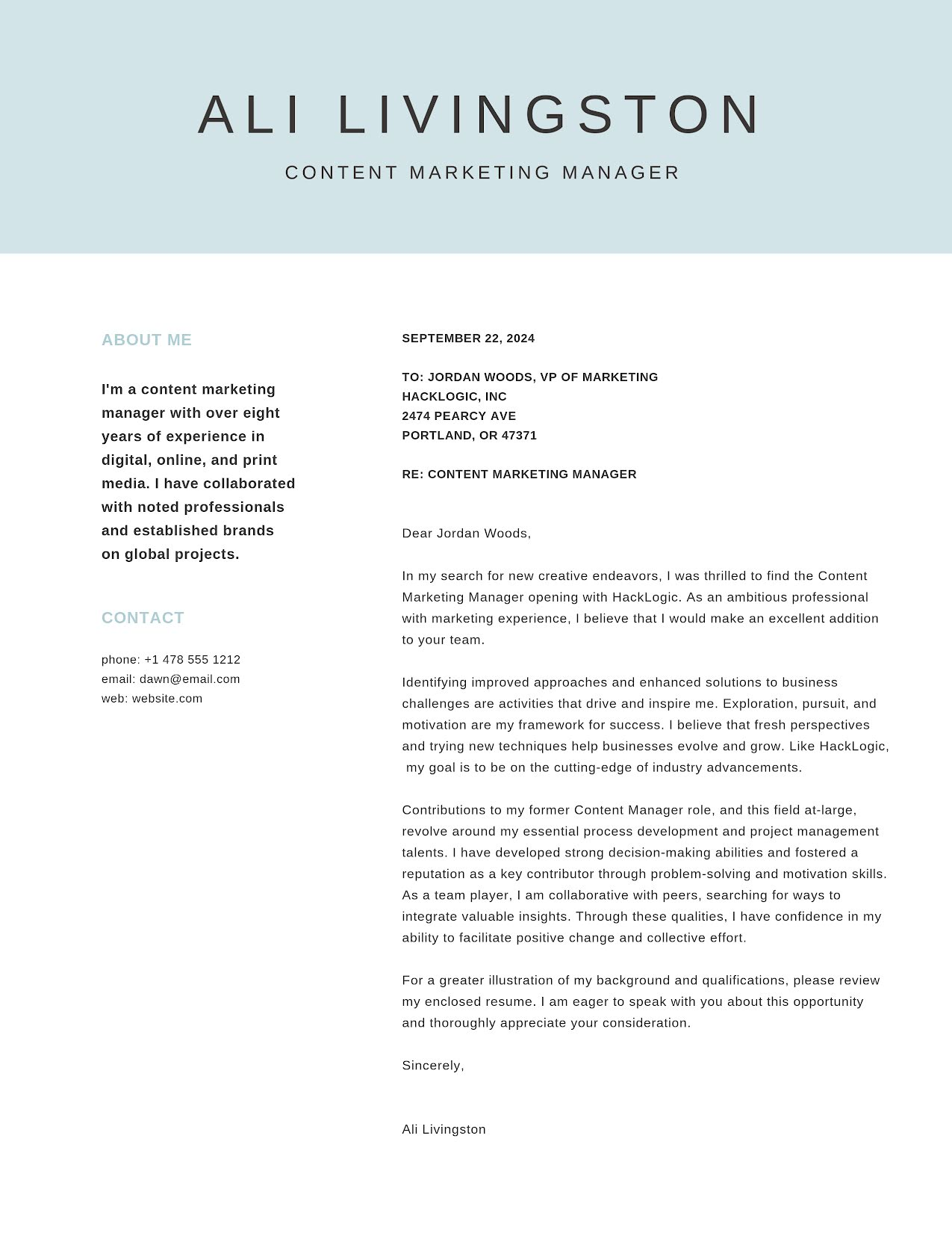 Ali Livingston - Cover Letter Template