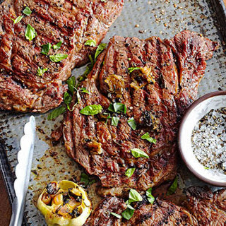 Steaks with Roasted Garlic.