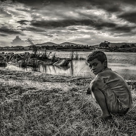 A Boy by Sanjit Chowdhury - Black & White Street & Candid
