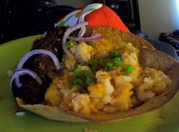 Homestyle Mashed Cheesy Potato In Taco Shell Recipe