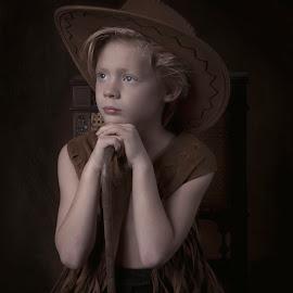 Little cowboy by Carola Kayen-mouthaan - Babies & Children Child Portraits ( child, cowboy, fine art, boy, portrait )