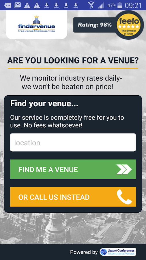 Finder Venue- screenshot