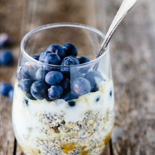 Easy Blueberry Chia Overnight Oats.
