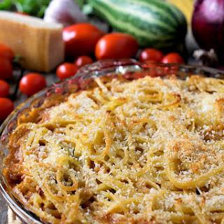 Summer Squash Spaghetti Ricotta Pie