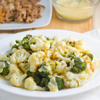 Roasted Cauliflower and Broccoli with Honey Mustard Sauce