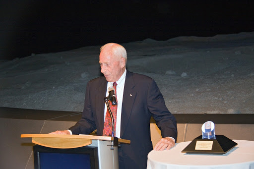 At NASA Kennedy Space Center's Visitor Complex in Florida Apollo astronaut Al Worden shares his thoughts about the Space Program.