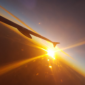 Here Comes the Sun by Riddhima Chandra - Abstract Light Painting ( plane, sunrays, yellow, travel, sun,  )