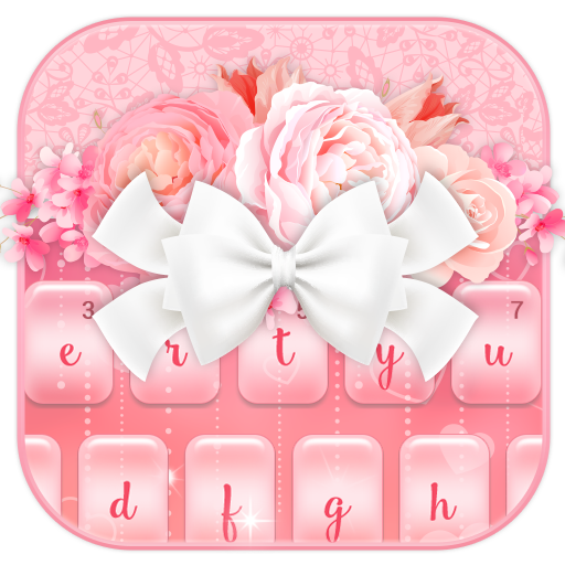 Charming Pink Roses Bow Keyboard Theme