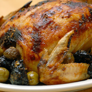 Roasted Chicken with Olives and Prunes.