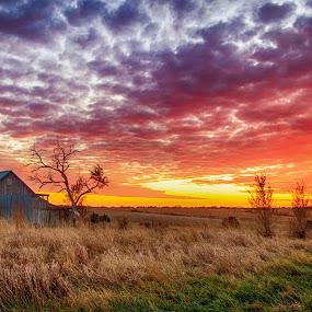 Skies Ablaze by Eric Wellman - Landscapes Sunsets & Sunrises ( farm, sky, barn, sunset,  )