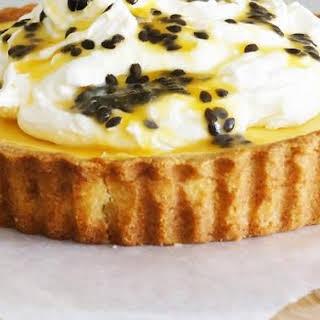 Passionfruit Tart with Orange Mascarpone Cream.