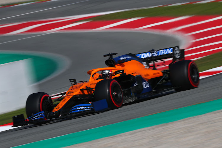 Carlos Sainz of Spain driving the (55) McLaren F1 Team MCL35 Renault on track during day six of F1 Winter Testing.