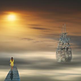 waiting by Babis Mavrommatis - Digital Art Places ( art, fantasy, color, artistic, manipulation )