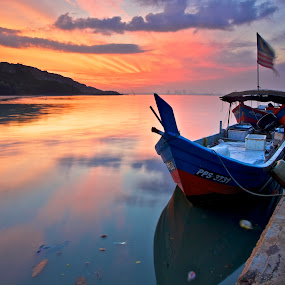 calm by Christopher Harriot - Landscapes Waterscapes ( penang, sea, malaysia, sunrise, boat, dock )