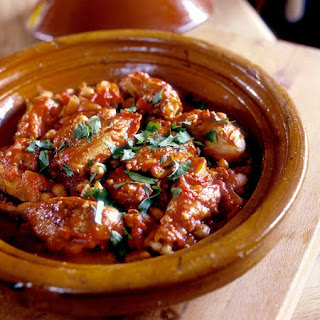Moroccan Chicken Tagine With Chickpeas and Raisins or Apricots.