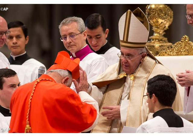 Pope Francis at consistory to create new cardinals in 2015 - AP