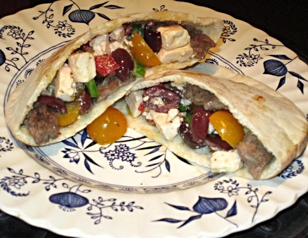 Steak Pitas W/ Roasted Peppers, Feta And Olives Recipe