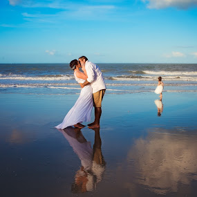 On the beach by Charlotte Hellings - Wedding Bride & Groom ( love, reflection, couple, beach, beauty, soulmates,  )