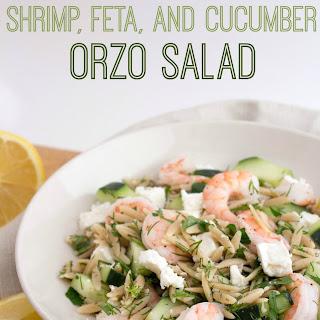 Shrimp, Cucumber & Feta Orzo Salad.