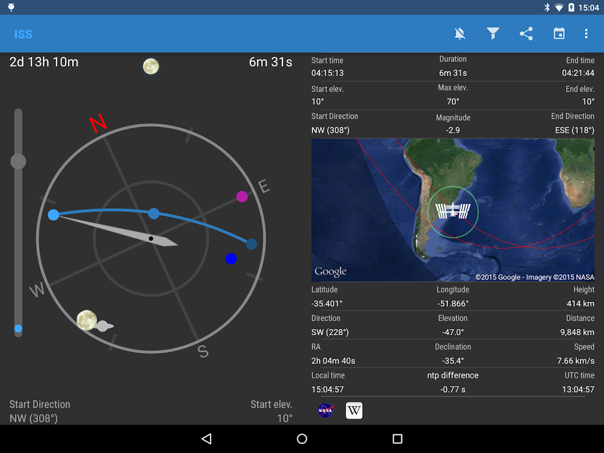 ISS Detector Satellite Tracker- screenshot