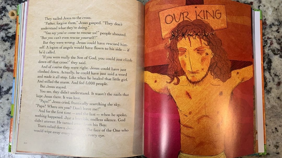 page about crucifixion in the Jesus Storybook Bible - Holy Week for kids