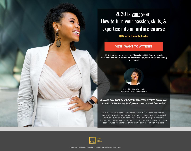 Danielle's webinar landing page