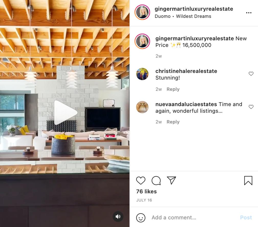 social media real estate listings example