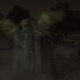 Awakening a Angel by Vincent Yates - Digital Art People ( graveyard, ghost, wings, night, spirit, angel, mist )
