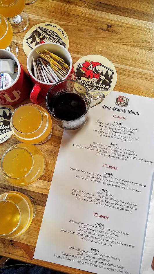 Beer for Breakfast at Great Notion Brewing on September 25, 2016 with 3 courses (omnivore or vegan) along with 12 beers with beers from GNB as well as guest breweries