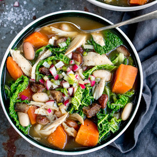 Three Bone Soup With Veggies and Beans.