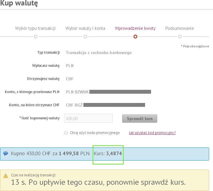 Wymiana CHFPLN na cinkciarz.pl
