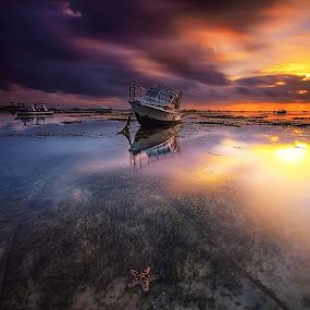 Sunrise at Sanur by Calvin Go - Transportation Boats ( reflection, starfish, sunrise, boat, longexposure )