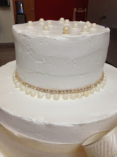 Photo: Loose edible pearls on top, with rhinestoned wrap & edible pearl beading.