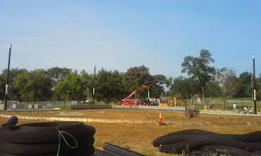 Photo: Panoramic View 4 Black Vertical Posts are for the tension system of backstop netting 08-06-2014