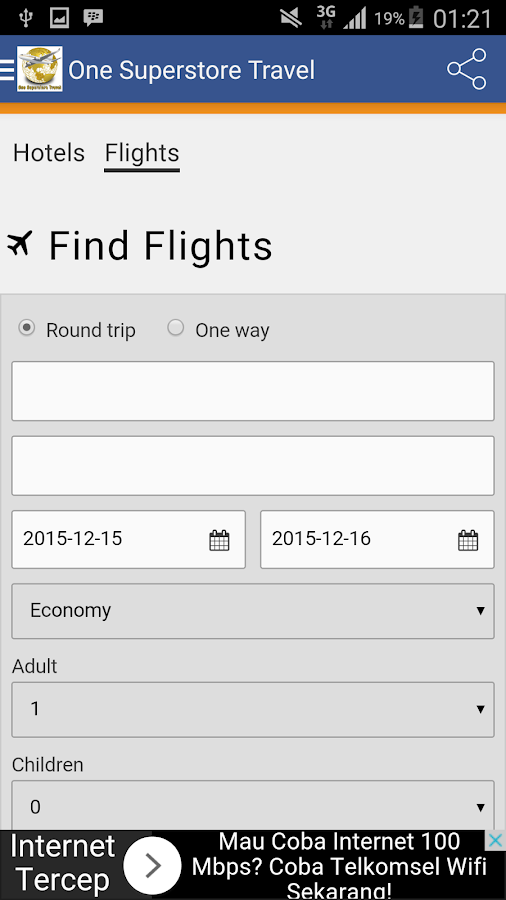 Cheap Flights & Hotels Search- screenshot