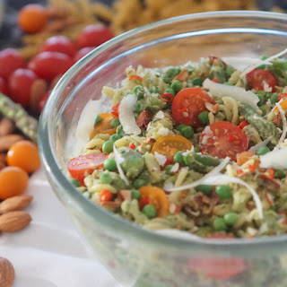 Gluten Free Spring Avocado Pesto Pasta Salad