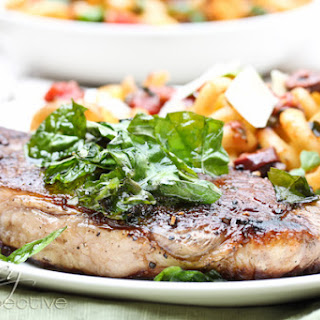 Pasta Puttanesca with New York Strips and Crispy Basil