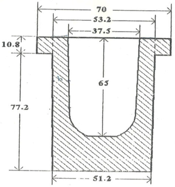 Cross-section view of crucible