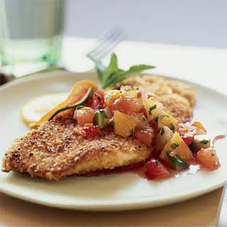 Nut-Crusted Sole with Citrus Salsa.