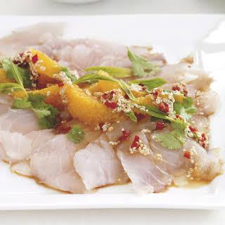 Sea Bass Sashimi with Sesame Dressing.