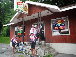 Photo: Terry and Alice Berkson, who we met at the Pizza Plus restaurant. From Brooklyn, they summer in this area. Terry is a writer and has a web site www.terryberkson.com.  Pizza Plus we luckily stumbled on this place at a break.