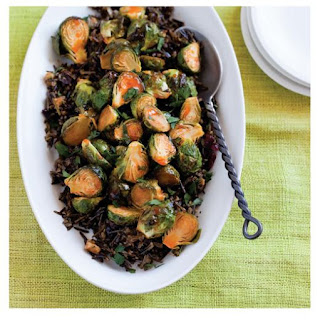 Maple-Sriracha Roasted Brussels Sprouts with Cranberry Wild Rice