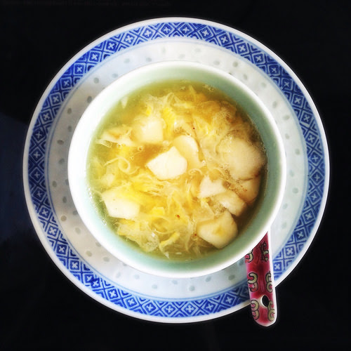 Egg Flower,  Water Chestnut, Dessert Soup, chinese, recipe,  sweet, 蛋花, 馬蹄, 糖水, 菱角